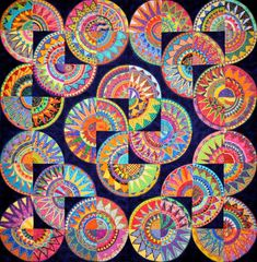 This Cinco de Mayo pattern is one of the most complex varieties of New York Beauty - 2008 by the Buda Bee Quilters of Buda, Texas.Wonkyworld: Cinco de Mayo Have each student create a quarter of a circle to create the large work. Club D'art, Art Club, Group Art Projects, School Art Projects, Collaborative Art Projects For Kids, Auction Projects, Class Projects, Collaborative Mural, Auction Ideas