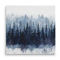 'Indigo Forest' Oil Painting Print on Wrapped Canvas
