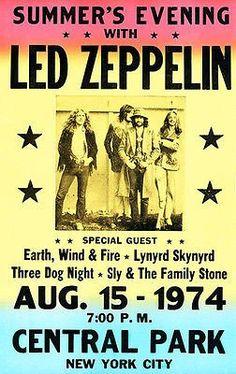 Led Zeppelin - 1974 - Central Park - Concert Poster