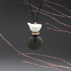 Nature necklaceSpirit Bird and beach stone by SueDavisJewelry, $55.00