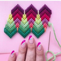 Ribbon Embroidery Flowers by Hand - Embroidery Patterns Bargello Needlepoint, Broderie Bargello, Bargello Patterns, Needlepoint Stitches, Needlework, Hardanger Embroidery, Silk Ribbon Embroidery, Cross Stitch Embroidery, Embroidery Patterns