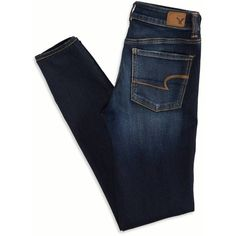 AEO Hi-Rise Jegging (Jeans) (280 ARS) ❤ liked on Polyvore featuring jeans, pants, bottoms, folded, american eagle outfitters, stretchy jeans, super stretch jeans, short jeans and jegging jeans