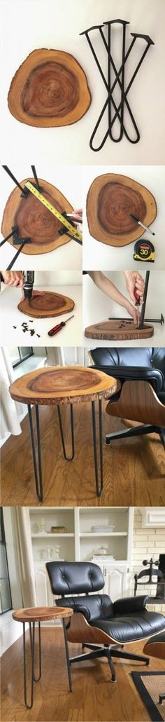 diy chair wooden disc and metal legs, armchair The post ▷ 1001 original and cool crafting ideas for inspiration appeared first on Woman Casual - DIY and crafts Rustic Side Table, Wooden Side Table, Side Tables, Wood Table, Piano Table, Wooden Crafts, Wooden Diy, Diy Home Decor Projects, Wood Projects