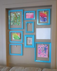 Little One's art display wall - a fun way to display the daycare kids' artwork! Displaying Kids Artwork, Artwork Display, Frame Display, Display Kids Art, Preschool Art Display, Childrens Art Display, Kids Room Art, Art Wall Kids, Art For Kids
