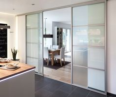 chic sliding doors for living and kitchen area Kitchen Sliding Doors, Interior Architecture, Interior Design, Home And Living, Room Inspiration, Home Kitchens, Kitchen Design, Sweet Home, New Homes
