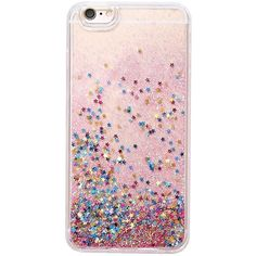 Glitter & Stars Iphone 6/6s Plus Case ($13) ❤ liked on Polyvore featuring accessories, tech accessories and blue