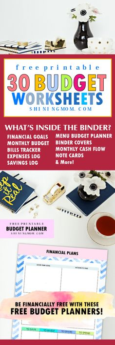 Download this amazing free printable 2018 budget planner! Grab the 30 budget binder worksheets to help you organize your finances come 2018! #freeplanner #freeplannerprintable #2018planner #budgetbinder #budget #budgettips #budgetbinder2018