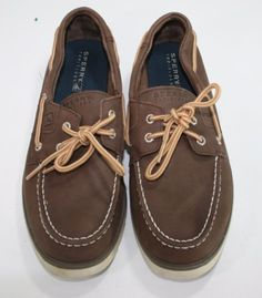 Sperry-Top-Sider-Youth-Boys-Dark-Brown-Leather-Boat-Shoes-Size-7M