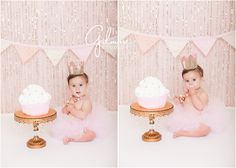 Ella's Cake Smash! 1st Birthday Portrait Session - Newport Beach Baby Photographer, CA, Cali, California, Pink Glitter, Light Pink, Pale Pink, Pastel Pink, Cake Stand, Golden Crown, First Birthday, Gold and Pink Necklace, Pink Tutu, Pink and White Cupcake Cake, Giant Cupcake, Girly, Princess, Baby Girl, Cute, Adorable, Precious, Messy, Smiley, Laughter, Darling, Licking Lips, Yum, Pink Banner, Barefoot  GilmoreStudios.com