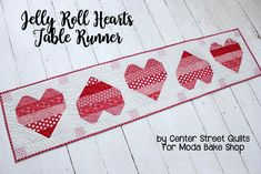 Jelly Roll Hearts Table Runner