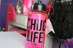 canon-couture: My new chug life water bottle from Victoria's secret~ i was at cheer camp for 3 days and my mom surprised me with it when i got home because i always steal her's :b Water Bottle Logos, Cheer Camp, Chugs, Gym Addicts, Workout Gear, Vs Pink, Fitness Apparel, Fitness Gear, Motivation