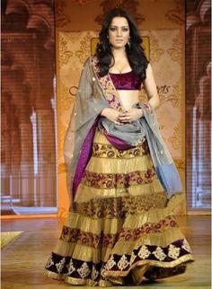 Designer Purple #Lehenga_Choli of Celina Jaitly