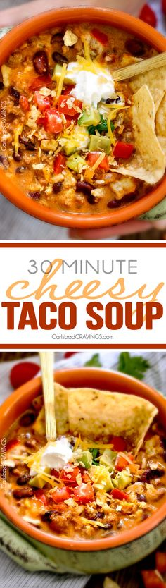 Less than 30 minutes for this ONE POT Cheesy Taco Soup! This is the ultimate comforting soup packed with all your favorite taco flavors and is SO easy and great for crowds! You haven't had taco soup until you try this version! via Carlsbad Cravings Great Recipes, Dinner Recipes, Favorite Recipes, Easy Soup Recipes, Fast Recipes, Paleo Dinner, Carlsbad Cravings, Soup And Sandwich, Soup And Salad