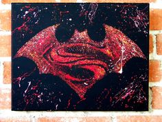 Batman vs Superman the Movie is not out yet but you can have this logo today. The painting pictured is an 11x14 Acrylic on Canvas. I use a