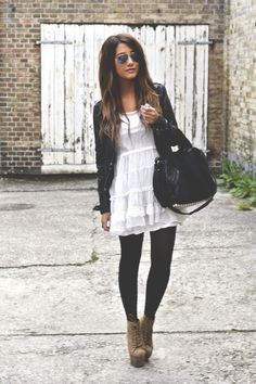 cute way to incorporate spring dresses into fall outfits.