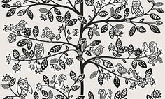 Oak Tree Beige (LL-06-22-2) - Galerie Wallpapers - An all over wallpaper design featuring a stylised design of tree branches with small woodland creatures. Shown here in the beige colourway. Other colourways are available. Please request a sample for a true colour match. Paste-the-wall product.