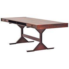 Gianfranco Frattini Rosewood Desk for Bernini, 1956 Modern Desk, Mid-century Modern, Table Furniture, Modern Furniture, Mid Century Modern Design, Storage Spaces, Vintage Desks, Dining Table, Antiques