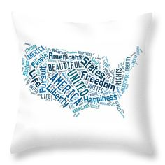 United States Of America Map Art Throw Pillow.