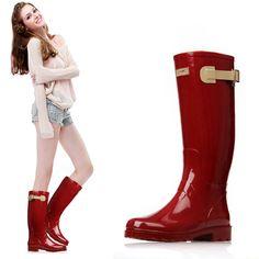 Rouge Dames Bottes de Pluie Imperméables Femmes En Caoutchouc Respirant Mode Genou Haute Anti-slip Rainboots Chaussures D'eau Femelle Botas Qualité