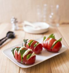 Mozzarella tomato basil in Hasselback style Caprese Salad, Appetizers, Cooking, Recipes, Food, Party, Style, Drinks, Eten