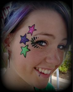 Super quick and easy face painting stars.
