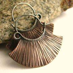 Sterling Silver And Copper Ethnic Hoop Earrings, Mixed Metal, Artisan Metalsmithed by SunTribeDesigns on Etsy. 42 bucks, a steal if you ask me.
