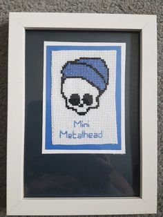 Handmade, cross stitched baby picture frames with a twist. Foe the 'Mini metalhead' rocker' s new arrival. Space has been left to personalise. The pink will be on the frame with lettered beads. And the blue will be a stitched peesonalisation. These are available now but they can also be made to order and posted within 48 hrs of order being placed.   eBay!