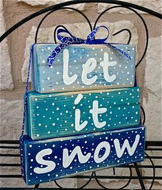 Wood Stacked Block Christmas Decoration Sign with Ribbon - Let It Snow - on Etsy, $18.00