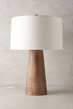 Wood Barrel Table Lamp   Anthropology $398