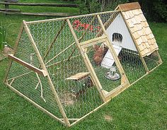 Chicken tractor.  For the countrified city slicker.  I don't need this where I live, but it is pretty cute :)