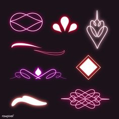 Vintage neon divider elements collection vector | premium image by rawpixel.com / marinemynt Pink And Purple Background, Purple Backgrounds, Light Texture Background, Textured Background, Neon Design, Rose Design, Paper Background, Background Patterns, Free Hand Drawing