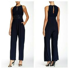 Eliza J Blue Keyhole Beaded Jumpsuit NWT. See second photo for more details. Eliza J Pants Jumpsuits & Rompers