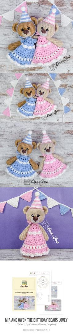 Mia and Owen the Birthday Bears Lovey crochet pattern