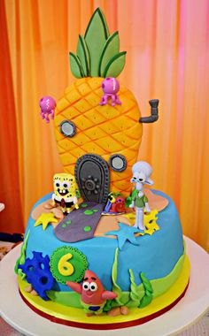 Spongebob Cake Kids Birthday Cakes Pinterest Cake Birthdays