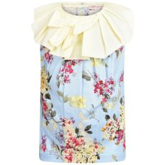 672047d8cce5c5 Miss Blumarine Baby Girls Blue Floral Top With Yellow Collar