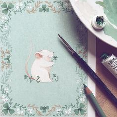 Sláinte! Painted this fella a while ago for the St. Patricks  I won't be having any Guinness though because I have to paint . Grab one for me! #stpatricks #stpatricksday #mouse #illustrator #illustration #gouache #WinsorAndNewton #art #instaart #mint #shamrock #floral #flower #cute #animals #animals #nature #doodle #practice #irish #holiday by ninastajner
