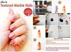 cling wrap textured nails tutorial, nail rings too!