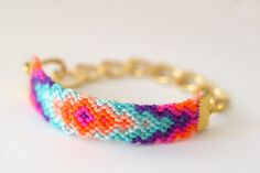 Chunky Chain Friendship Bracelet Rainbow Sherbet by makunaima, $20.90