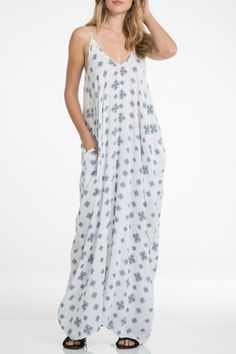You won't want to take this comfy maxi off! Great for beach lounging or accessorize it up for a lunch or shopping with the girls! White with blue print. Adjustable straps.  Maxi Bubble Dress by Beth Friedman. Clothing - Dresses - Maxi Arizona