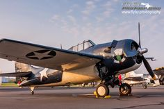 Texas Flying Legends' FM-2P Wildcat on the Culpeper Airport ramp on the morning of May 8, 2015. It was in a Wildcat similar to this one that Marine Joe Foss achieved 26 aerial victories over the Japanese while flying out of an embattled Guadalcanal.