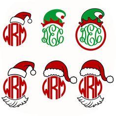 Santa Hat Elf Christmas Monogram Cuttable Design SVG, DXF, EPS use with Silhouette Studio & Cricut, Vector Art, Vinyl Digital Cut Files Cricut Monogram, Monogram Frame, Monogram Design, Monogram Fonts, Anchor Monogram, Cricut Fonts, Cricut Vinyl, Monogram Initials, Christmas Vinyl