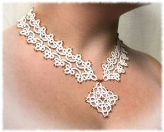 White bridal necklace Tatted lace collar necklace by LandOfLaces, $85.00