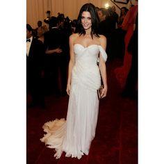 Ashley Greene Sheath Asymmetric Shoulder Draped Long Ivory Celebrity Dress 2012 Met Ball Red Carpet