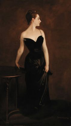 'Madame X' (Madame Pierre Gautreau), painted by John Singer Sargent, 1883-84,  with fallen strap (the strap was eventually repainted upright due to criticism from a scandalized public).