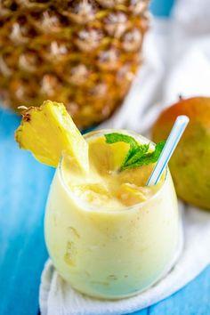 Make this delicous frozen smoothie with ease! Mango Pineapple Smoothie, Orange Julius, Goat Milk, Beverages, Drinks, Smoothies, Panna Cotta, Frozen, Tropical