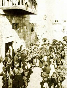 Ramallah - رام الله : A WEDDING AT RAMALLAH, PALESTINE (ca. 1900) - Bridegroom's chivalry, manliness, virtue  and generosity being extolled