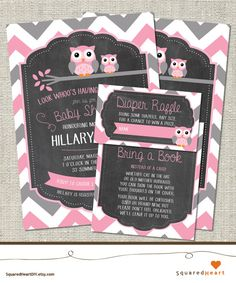 Owl Baby Shower Ideas   Girl, Pink, Gray, Chevron   PERSONALIZED Owl Printable Baby Shower Invitation Set   Invitation, Thank You Card, Diaper Raffle and Bring a Book   SquaredHeartDIY