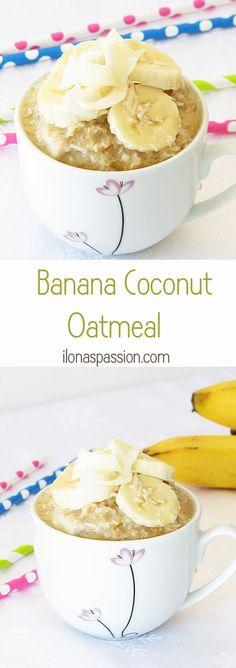 Oatmeal with banana, coconut and honey by http://ilonaspassion.com