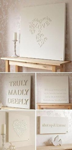 apply wooden letters on canvas and spray paint.Love this idea!!! by Karmeluna
