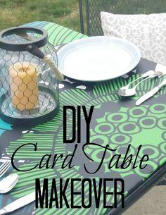 Marimekko Siirtolapuutarha PVC-Coated Cotton Fabric from alwaysmod.com | DIY Card Table Makeover by Addison Meadows Lane